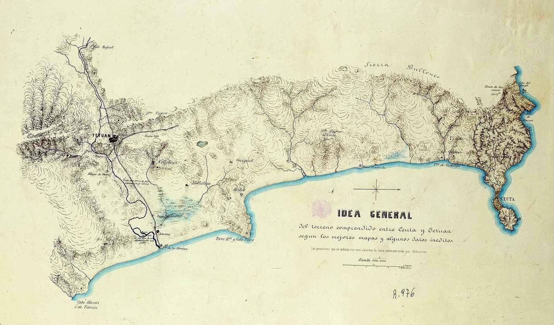 """Idea general del terreno comprendido entre Ceuta y Tetuán según los mejores mapas y  algunos datos inéditos""""_Afrika_KAR06.jpg (1429×837)"""