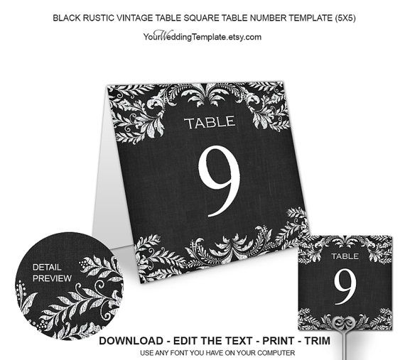 Black Rustic Vintage Table Numbers By Yourweddingtemplates On Etsy