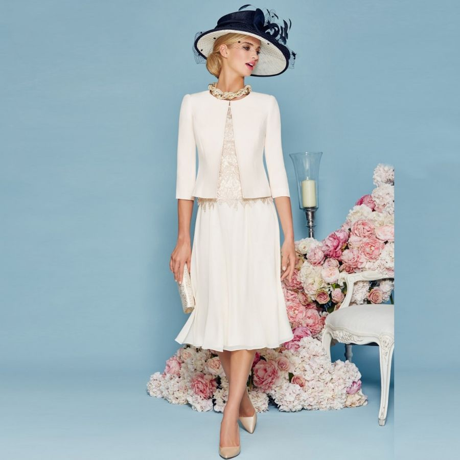 Click to Buy << Knee Length Mother of the Bride Dresses with Jacket ...