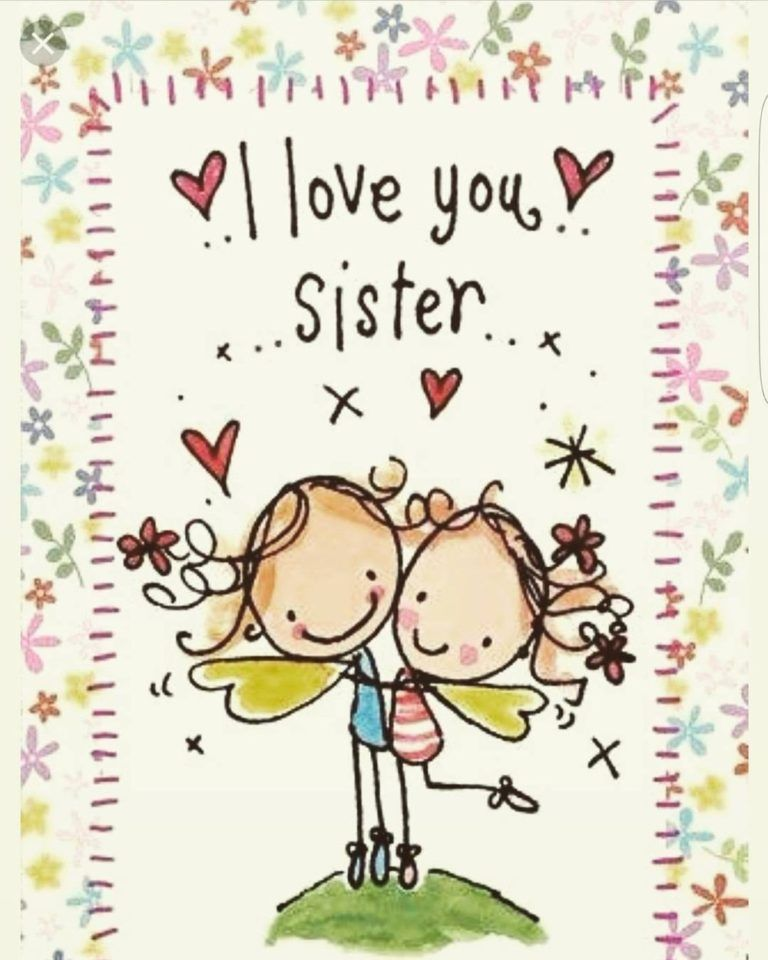 Cartoon Card Happy Birthday For Sister With Images Happy