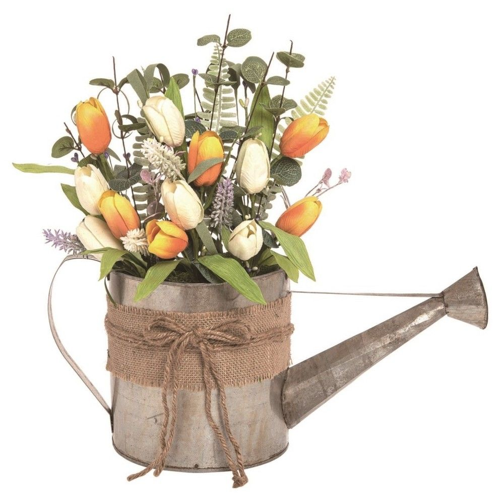 Transpac Metal 16 In Multicolor Easter Faux Floral Watering Can Hanging Arrangement In 2020 Transpac Floral Arrangements Easter Table Decorations