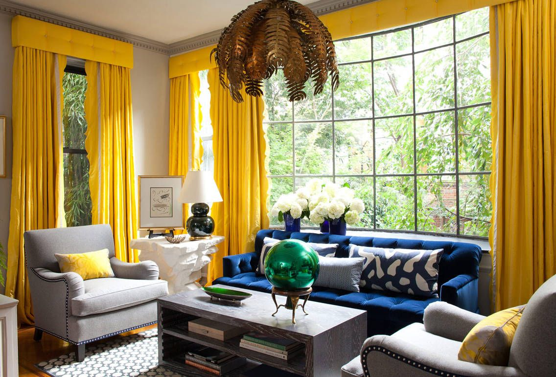 yellow curtains for living room. modern living room  yellow curtains and blue colour scheme