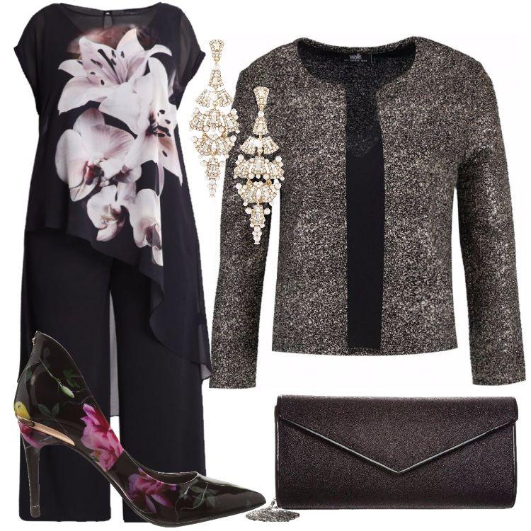 Outfit pensato per una donna curvy: jumpsuit nera, con motivo di blusa  asimmetrica,
