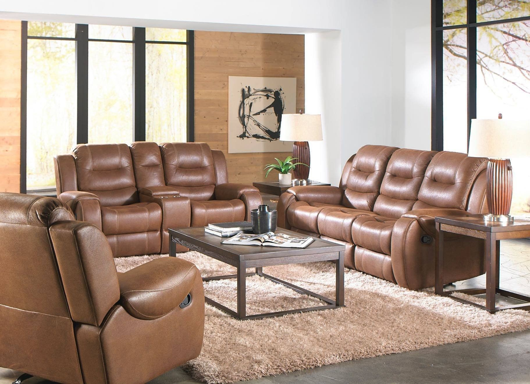 Corinthian Pancho Chocolate Reclining Sofa & Loveseat