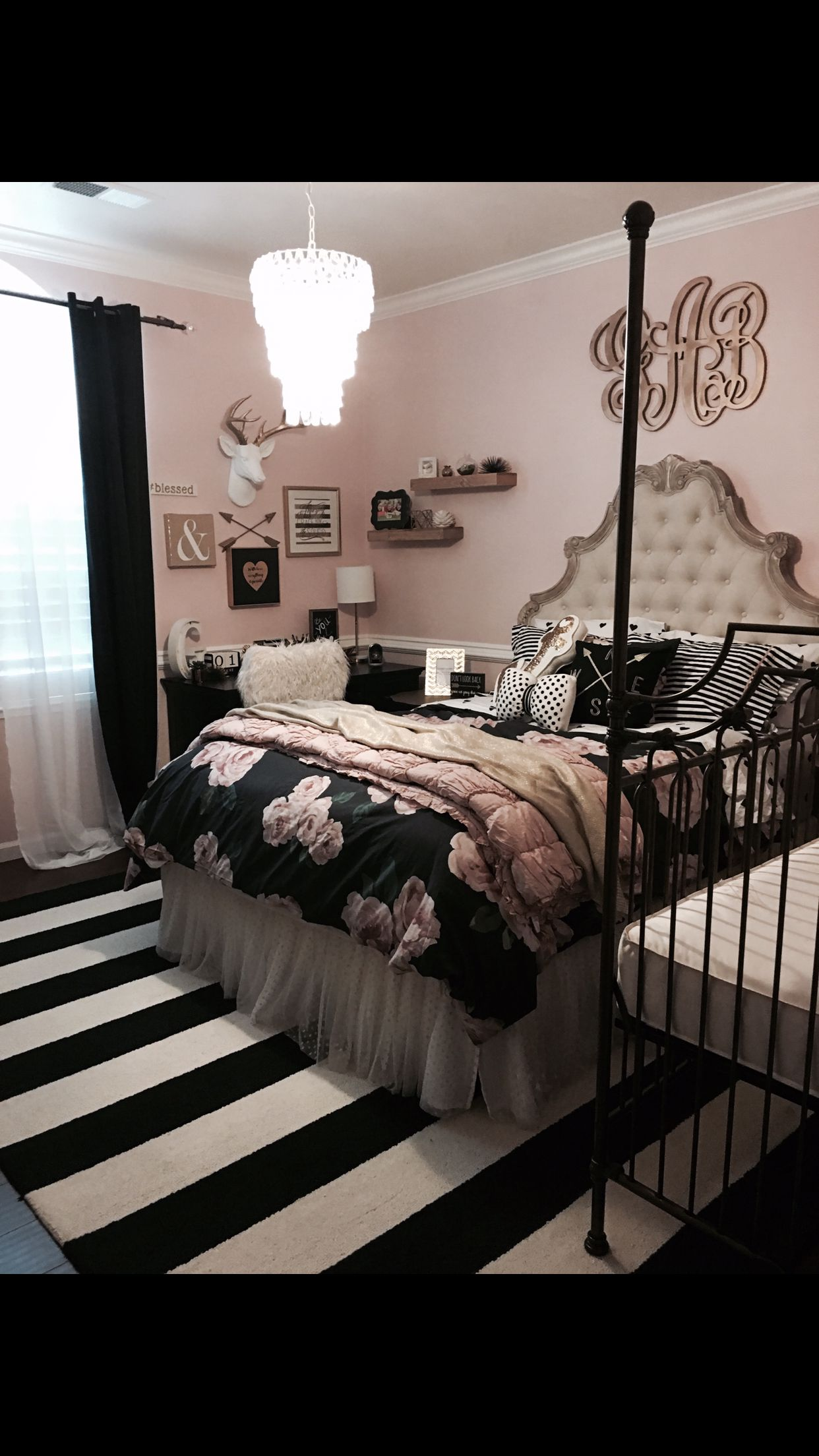 lovely Black Bedroom Ideas Part - 15: Tween teen girls bedroom decor pottery barn rustic blush black stripped rug  monogram antlers collage shelves Bratt decor crib flowers pottery barn kids  teen ...