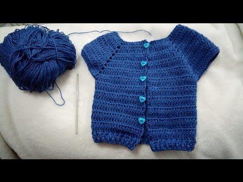 DIY Como tejer chaleco bolero para bebe niña con flor a crochet ...