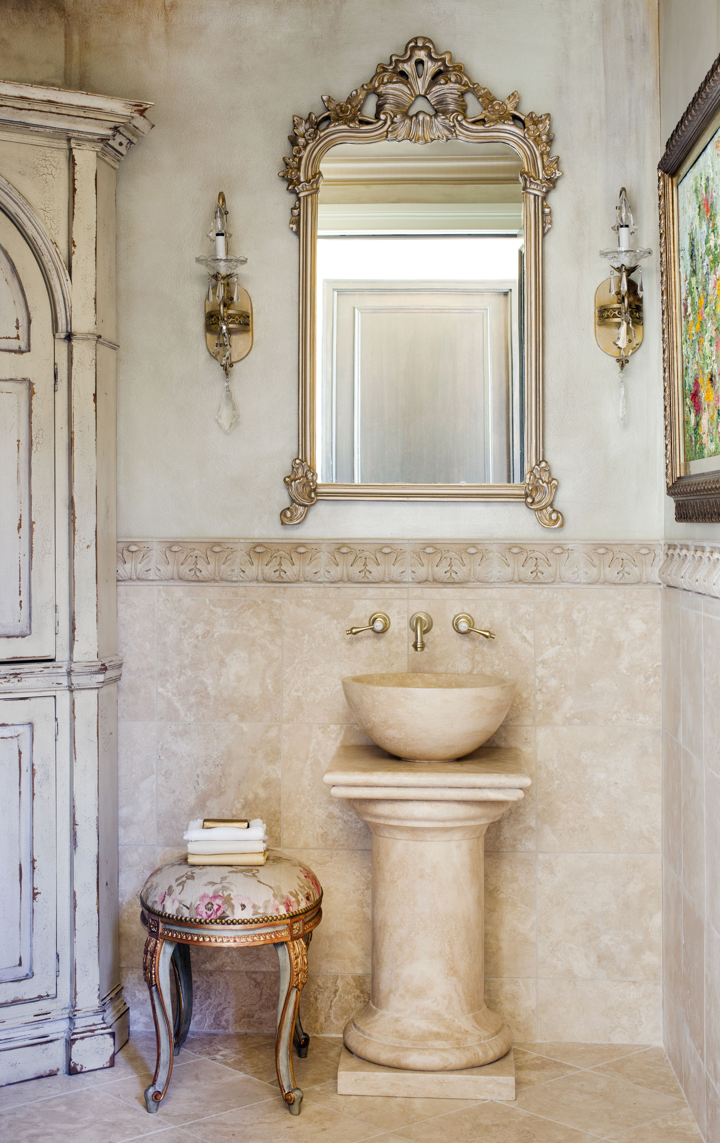 beautifully distressed... | Powder Rooms | Pinterest | Powder room ...