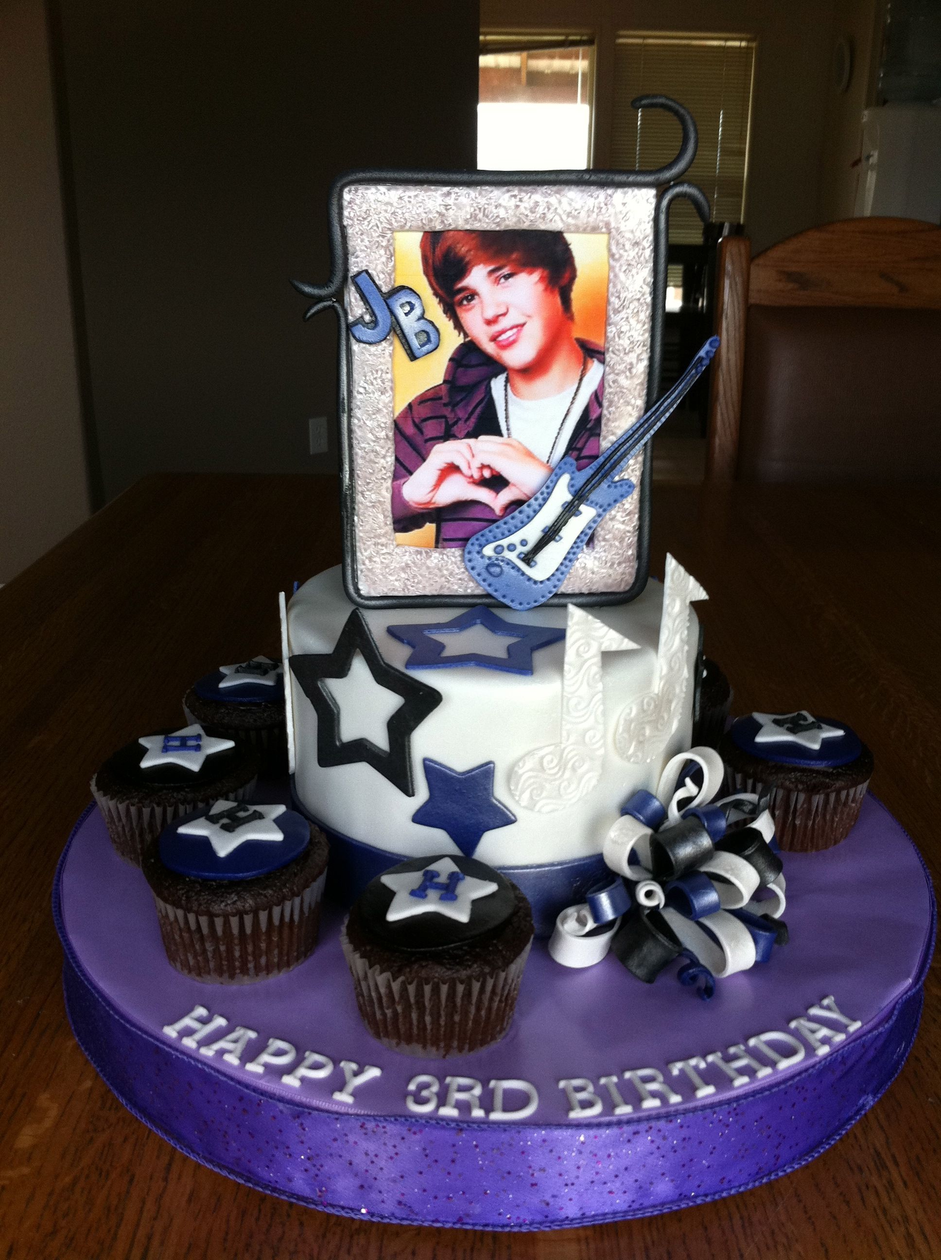 Justin Beiber cake, All handmade and edible except the picture.