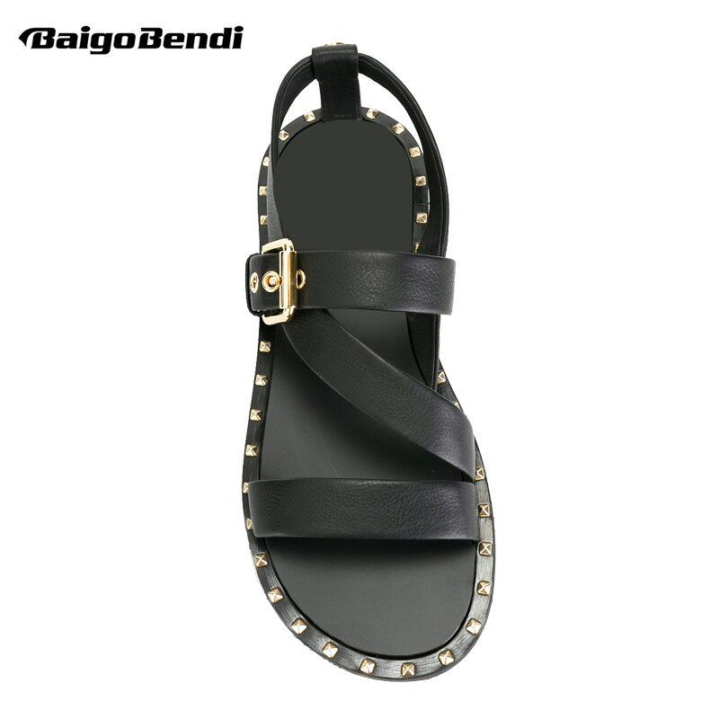 Mens Metal Simple Casual Sandals Gladiator Roman Leather Outdoor Buckles Shoes