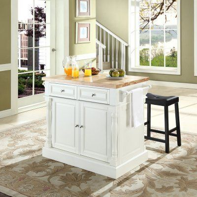 Crosley Butcher Block Top Kitchen Island with 24 in. Upholstered Saddle Stools - KF300064WH