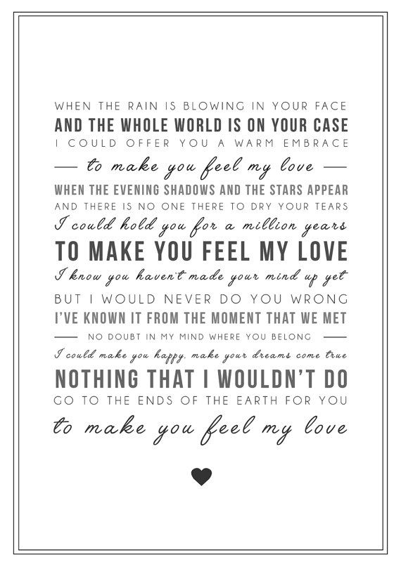 Adele Make You Feel My Love Song Lyrics Print Typographic Wall