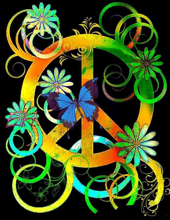hippie peace sign art the image kid has it. Black Bedroom Furniture Sets. Home Design Ideas