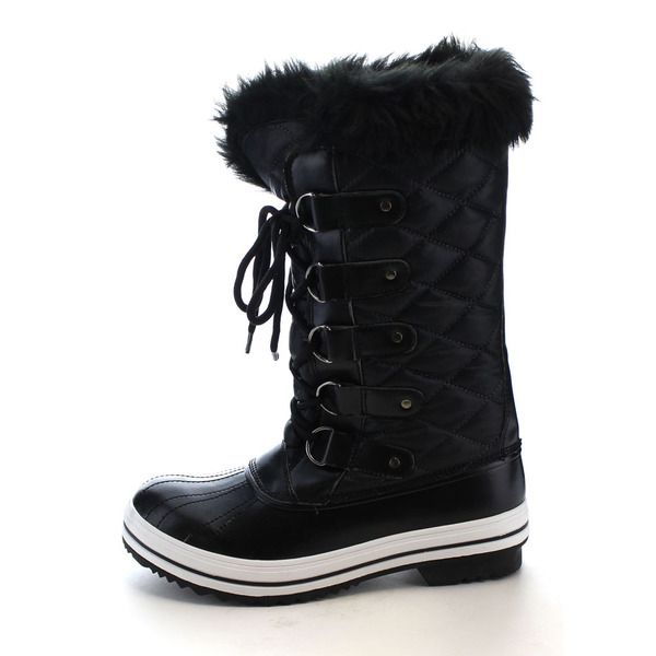 Women's Lace Up Quilted Fur Lining Mid Calf Winter Snow Boots