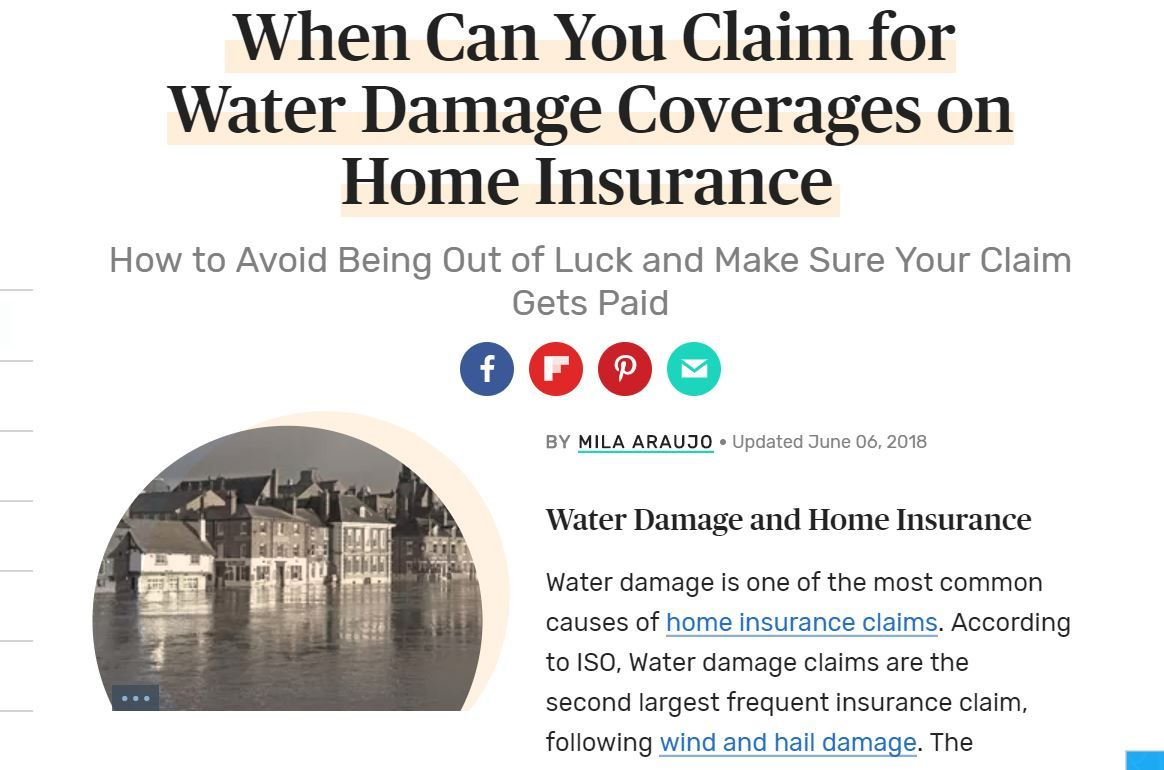 Claiming Water Damage Coverages On Home Insurance Water Damage