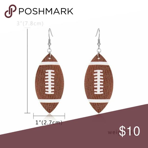 Tear Drop Leather Football Earrings New Brand New Teardrop Football Earrings Leather Dangling Teardrop Shape Super Football Earrings Teardrop Shape Earrings
