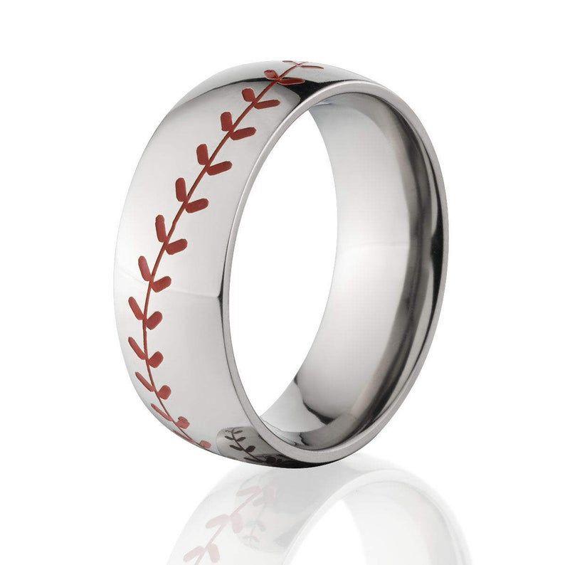 Mens Wedding Band Baseball Wedding Rings Etsy In 2020 Baseball Wedding Ring Baseball Ring Baseball Wedding Band