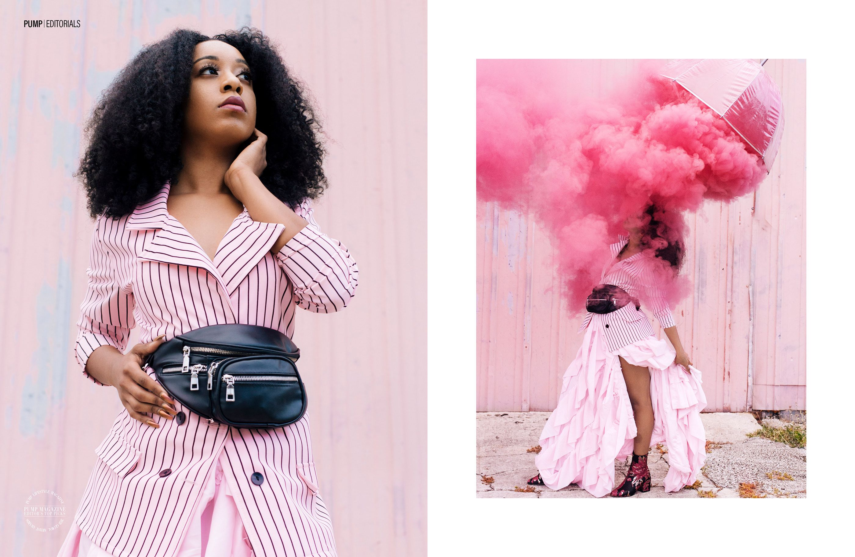 PUMP Magazine Model: Briana Hunt (@blvckxeuphoria) #pink #womeninsuits #suits #editorial #fashionphotography #publication #fashionmagazine #monochromatic