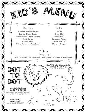 Nice Kids Menu Templates For Free Kids Menu Templates