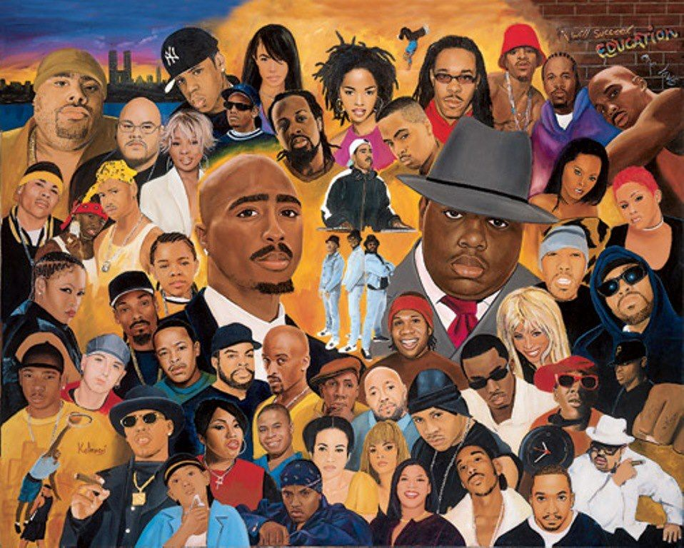 AC: different rappers that been around. Some of them died now and some of them still going. JL: do you recognize all … | Hip hop artwork, Hip hop art, Hip hop music