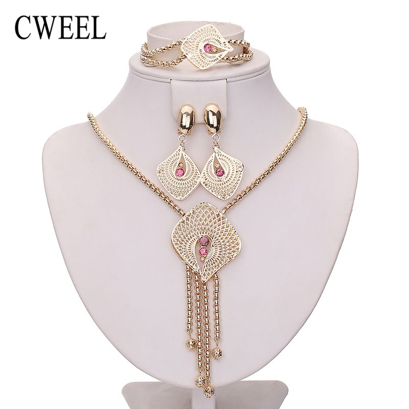 CWEEL Tassel Pendant Necklace Earrings Imitated Crystal Bracelet Nigerian Jewelry Sets For Women Gold Color Trinket Accessories