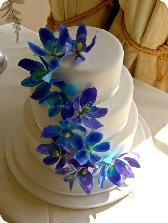 Blue And Purple Sugar Dendrobium Flowers Wedding Cake All Edible
