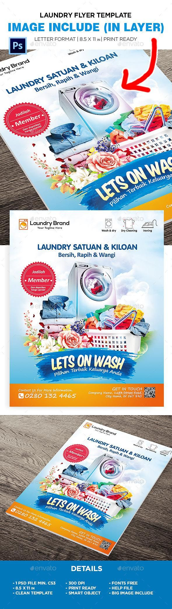 Laundry Flyer Flyer Business Card Template Psd Print Design