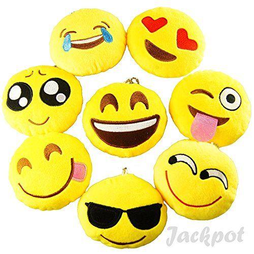 "Set of 12 ~ 1.5/"" Emoji Smiley Stuffed Plush Toy KEYCHAIN Emoticon Yellow Cushion"