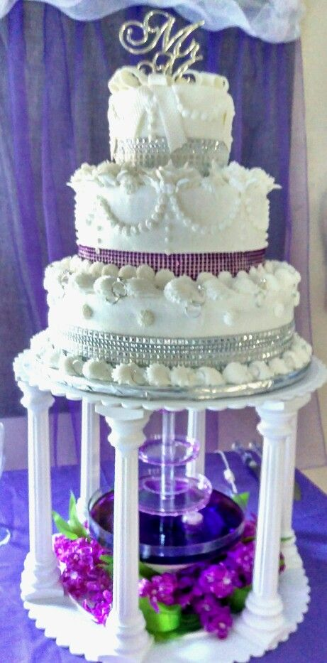 Purple Wedding Cakes With Fountains