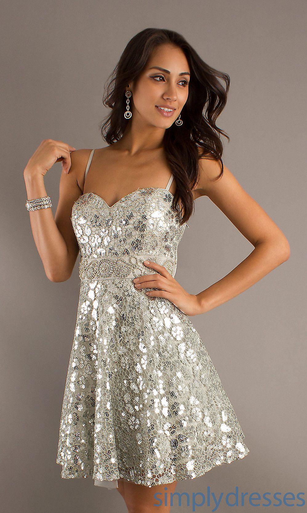 Cocktail dresses wedding  Dress Short Sequin Embellished Silver Sweetheart Dress  Simply
