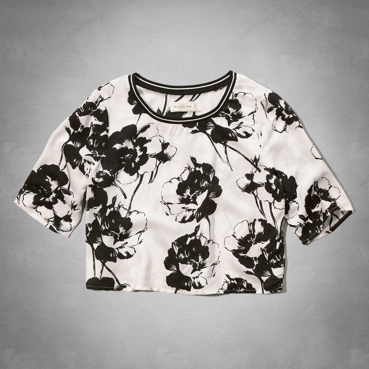 Black & White Floral Crop Top | Abercrombie.com