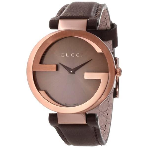 cdd42478d5f Gucci Men s YA133207  Interlocking  Brown Dial Brown Leather Strap Quartz  Watch