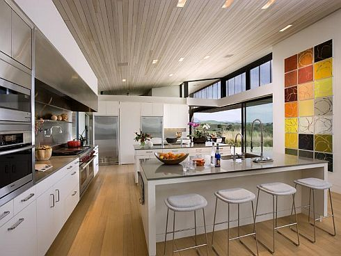 Modern Minimalist Kitchen With Mini Bar Tile Ceramic Wall Decoration And  Wood Ceiling Minimalist Kitchen Interior Design