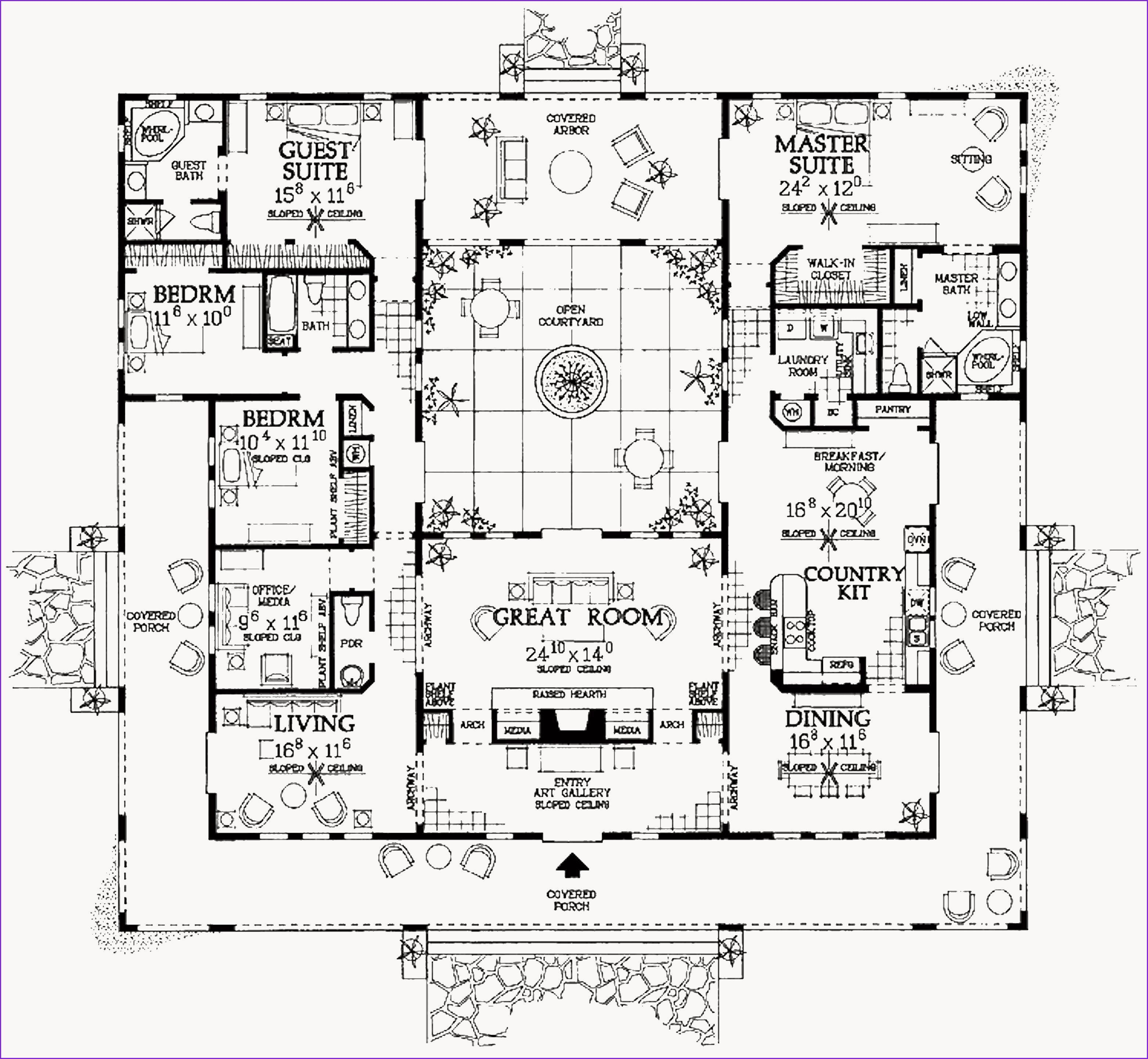 Awesome Spanish Courtyard House Plans Mediterranean Style House Plans Courtyard House Plans Courtyard House