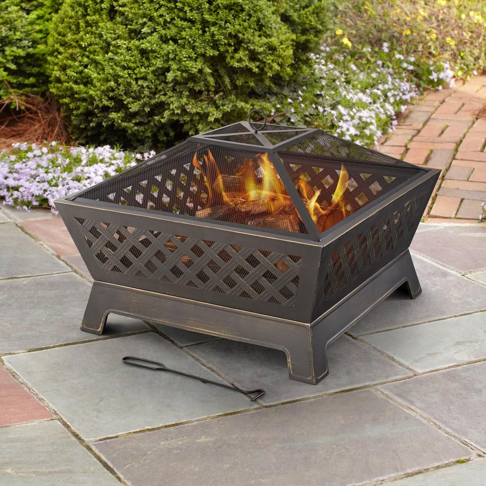 Hampton Bay Tipton 34 In Steel Deep Bowl Fire Pit In Oil Rubbed Bronze Ofw832s The Home Depot Fire Pit Outdoor Fire Pit Patio Fire Pit Accessories