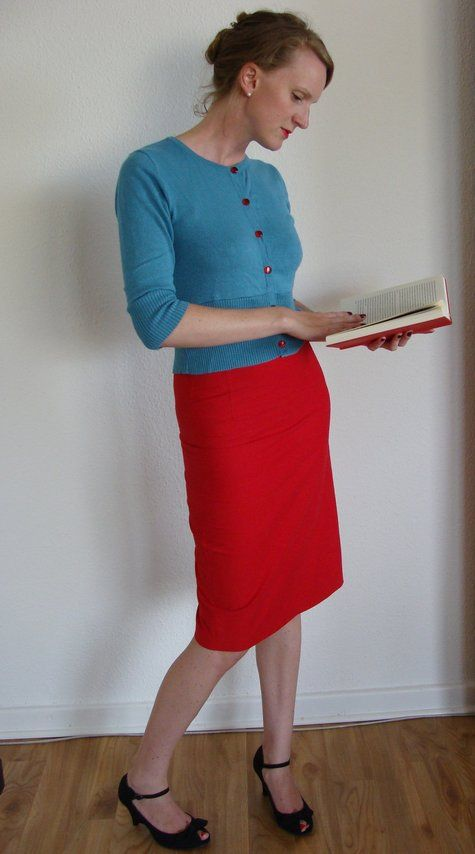 red skirt, blue top