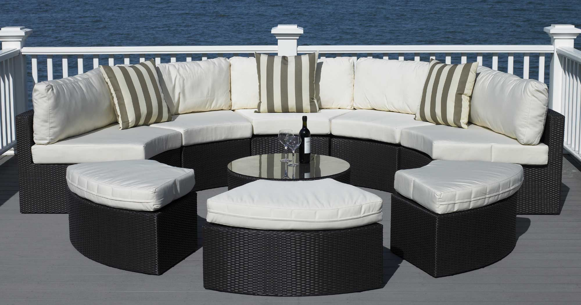 $2395 The Santorini Is A Round Sectional Thatu0027s Built To Entertain. It  Includes A Five Piece Round Outdoor Sectional, Three Ottomans, And Coffee  Table With ...
