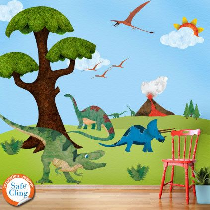Dinosaur Wall Stickers Decals For Dinosaur Theme Room Wall Mural