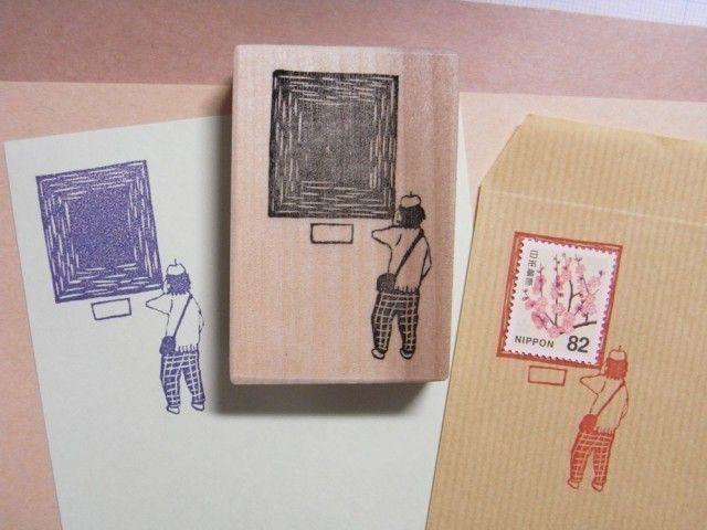 切手枠はんこ 美術館のおじさん Iichi ハンドメイド クラフト作品 手仕事品の通販 切手 かわいい郵便物 はんこ