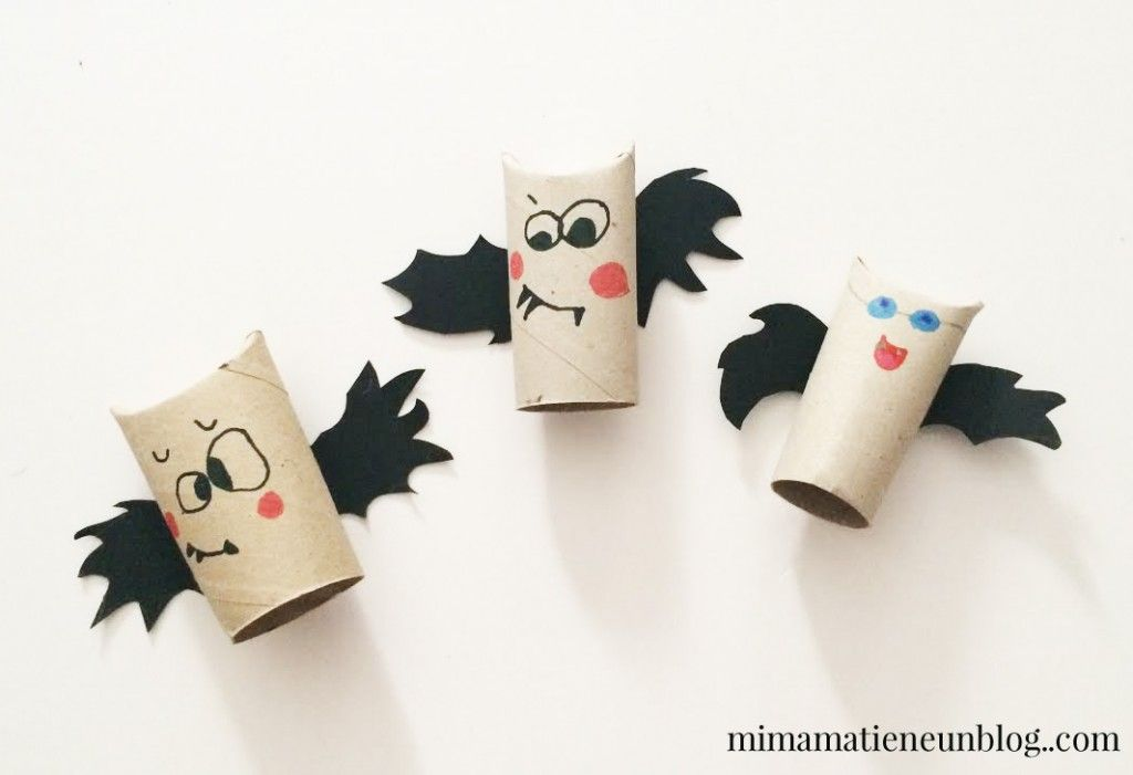 Manualidades halloween murcielagos con rollo de papel - Manualidades con rollos de papel ...