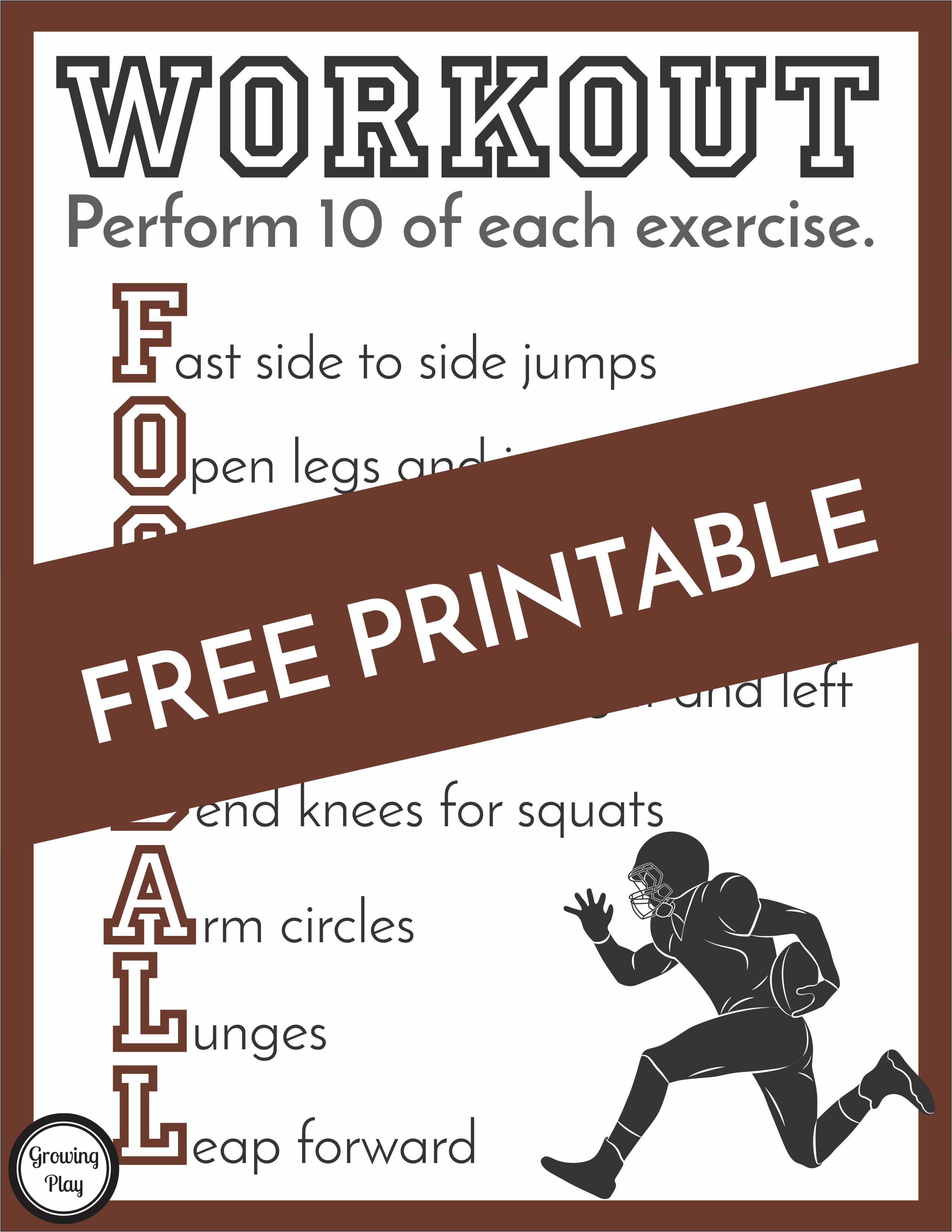 Football Workout Printable (With images) Football