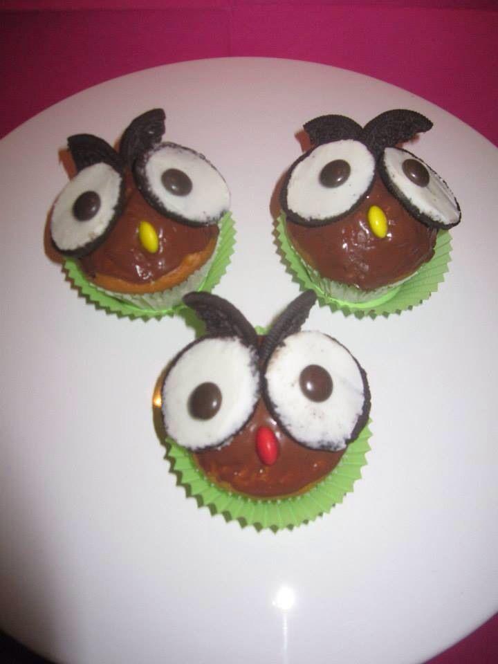 Eulen Muffins mit Oreo für Kindergeburtstag