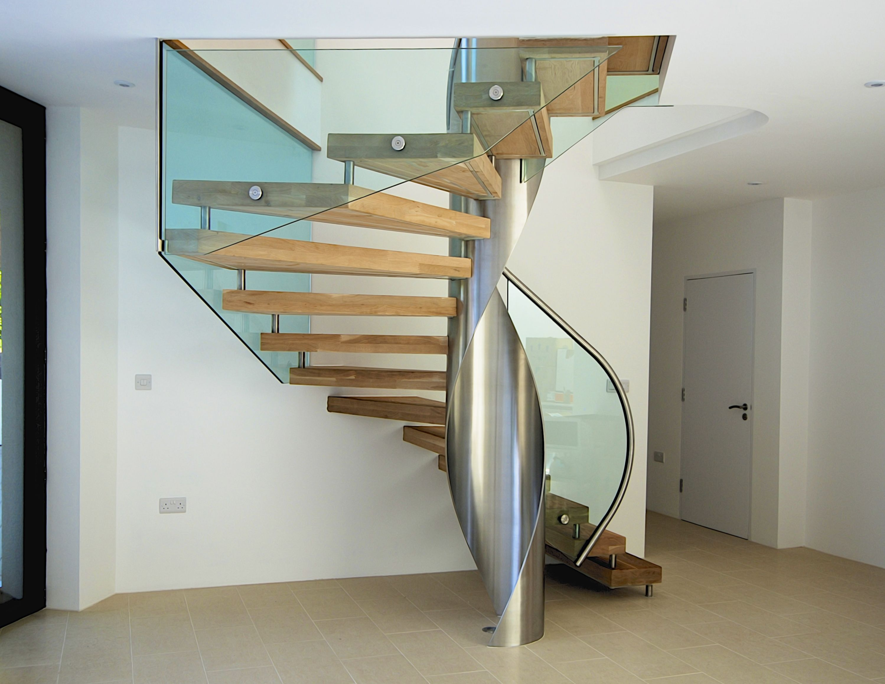 Modern Staircase Metal Handrail Floating Wood Treads
