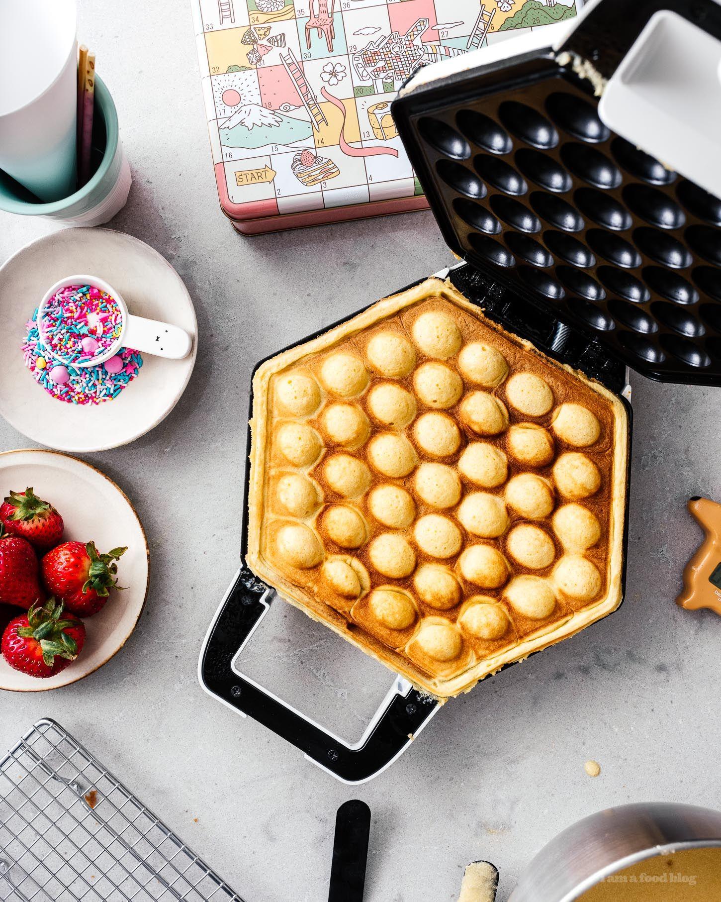 Easy bubble waffle ice cream conespuffle coneseggloo egg