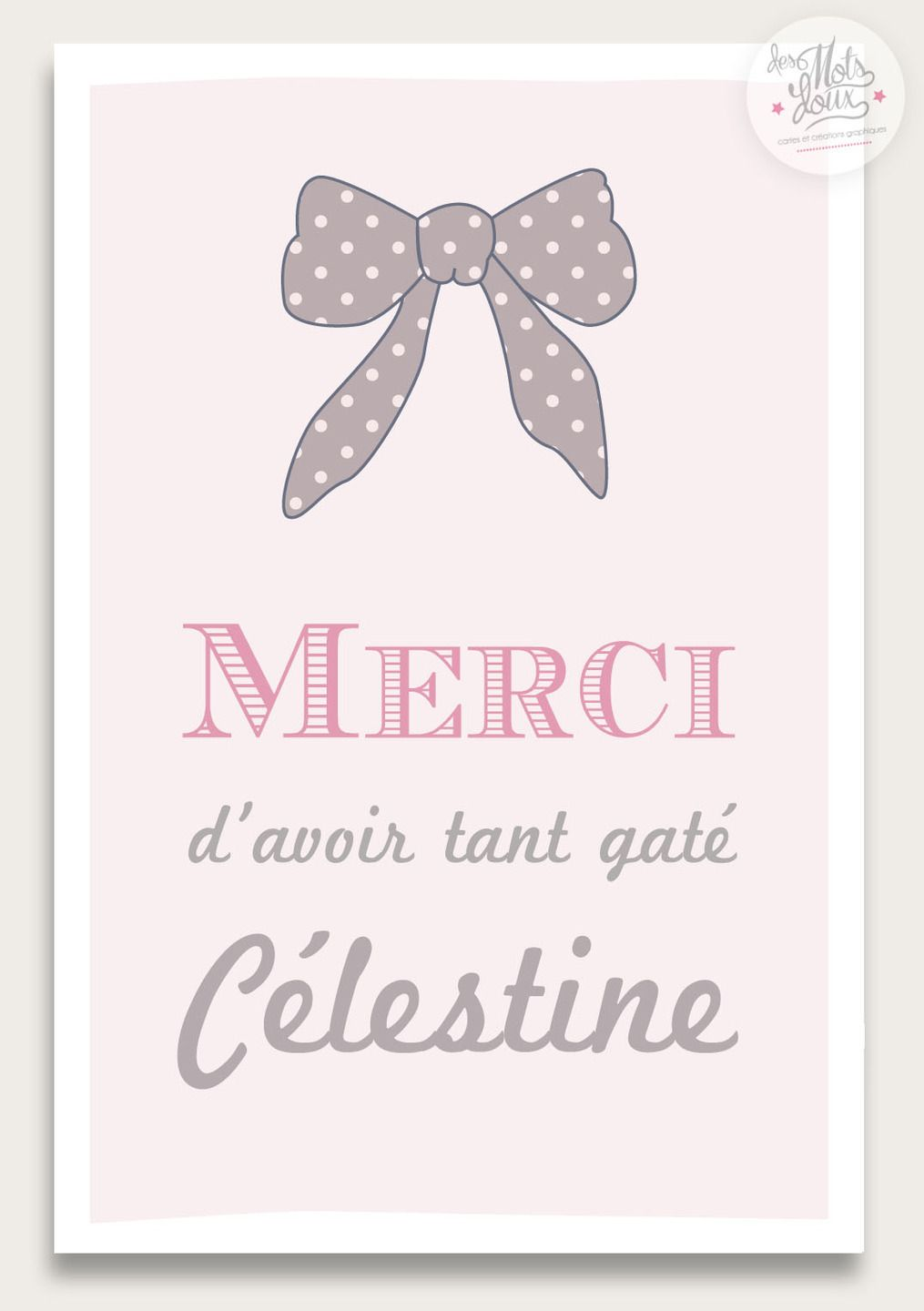 carte de remerciement rose p le de naissance noeud r tro vintage pour fille georgette. Black Bedroom Furniture Sets. Home Design Ideas
