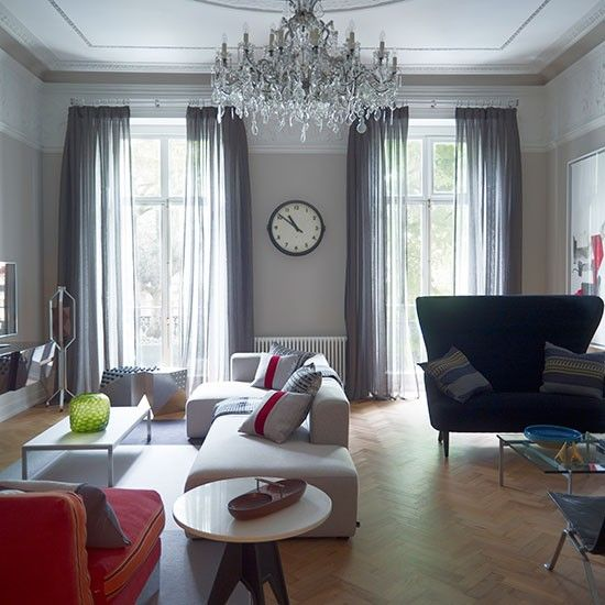 Home Design Ideas Classy: Elegant Grey Living Room With Parquet Floor
