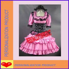 Jo- Gothic lolita cute skull corset hot pink Halloween Cosplay Knee Length dress 3pc