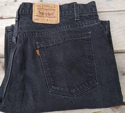 Levi's 550 black denim jeans orange tab W38 L32 38x32 100% cotton relaxed fit