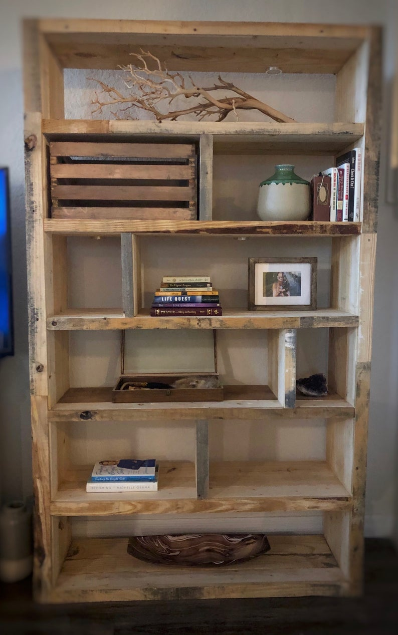 Reclaimed Wood Bookcase With Smart Lights Etsy Reclaimed Wood Bookcase Wood Bookcase Rustic Furniture