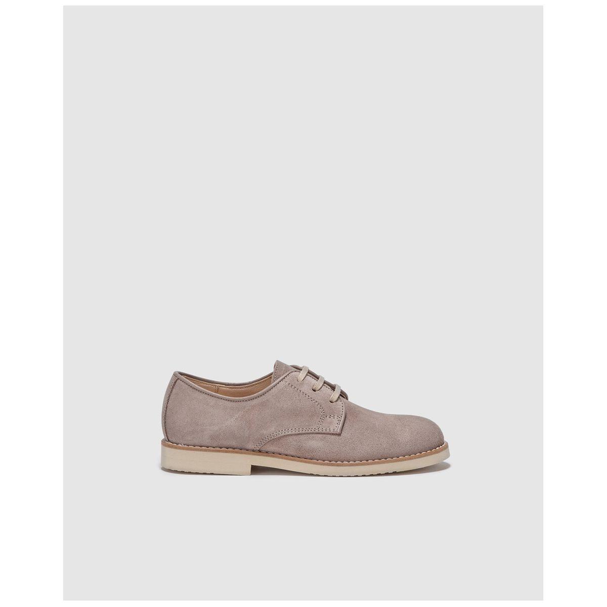 Chaussures À Lacets En Croûte De Cuir Gris Taille : 35;38