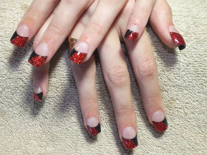 Acrylics With Black Tips And Half Red Glitter Pointed Nails Sculpted Nails Nails